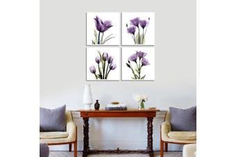 (Purple S) - Hlj Art 4 Panel Elegant Tulip Purple Flower Canvas Print Wall Art Painting For