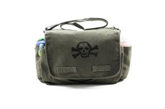 Heavyweight Carry-all Messenger Nappy Bag In Olive With A Black Scribble Skull