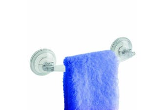 Interdesign Power Lock Suction Towel Bar, Clear, New,  .