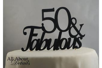 Black 50 & Fabulous Cake Topper