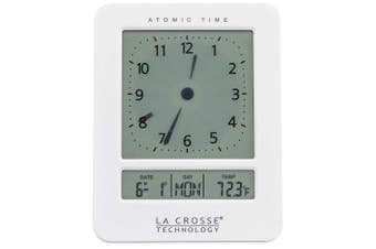La Crosse Technology 617-1392w Atomic Digital Analogue-style Alarm Clock, White