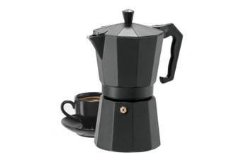 (black) - 6 Cup Cast Aluminium Stovetop Espresso Maker