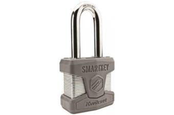 Kwikset 50mm Smartkey Padlock Long Shackle In Satin Chrome