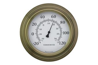 20cm Antique Brass Finish Decorative Indoor Outdoor Thermometer, New