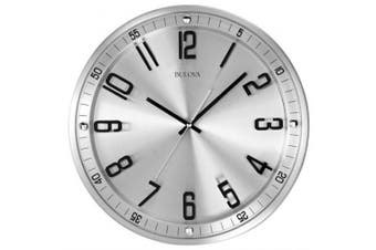 Bulova C4646 Silhouette Clock, Brushed Stainless Steel Finish, New, Free Shippin