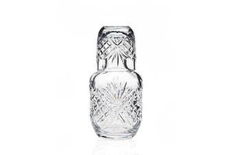 2pc Set James Scott 470ml Crystal Bedside Night Carafe & Tumbler Glassware Clear