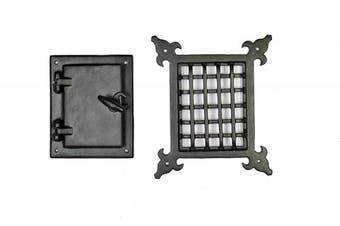 A29 Speakeasy Door Grill With Viewing Door Black Powder Coat Finish Medium Size