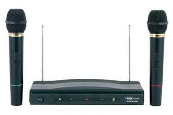 (black) - Naxa NAM-984 Dual Handheld Wireless Microphone Starter Kit with Wireless FM Receiver