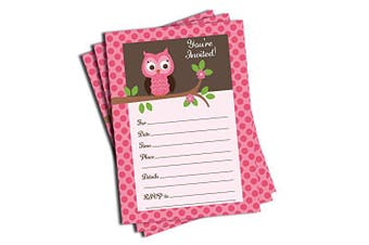50 Pink Owl Invitations (5x7) - Baby Shower - Birthday Party - Any Occasion New
