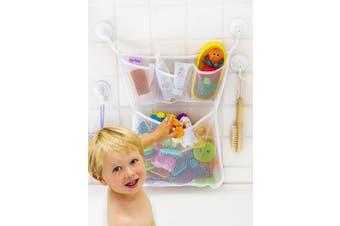"(Original + No Toys) - Bath Toy Organiser -The Original Tub Cubby - Large 14x20"" Quick Dry Bathtub Mesh Net - Massive Baby Toy Storage Bin + 3 Soap Pockets 4x Suction Hooks & 3M Stickers"