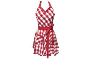(redgingham) - Wrapables Adjustable Flirty Hostess Apron, Red Gingham New