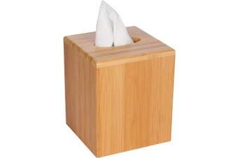 (singleset) - Trademark Innovations Square Bamboo Tissue Box Cover