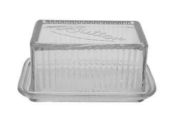 Creative Co-op Clear Pressed Glass Butter Dish, 6-1/2 By 7.6cm - 1.3cm , Clear