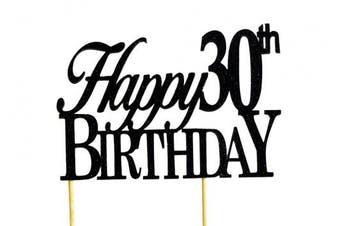 Black Happy 30th Birthday Cake Topper, New,  .