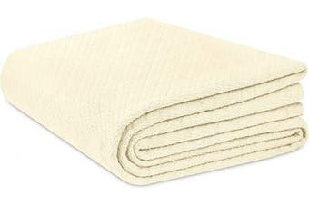 (King, Twill - Ivory) - Cotton Craft - 100% Soft Premium Cotton Thermal Blanket - King Ivory - Snuggle in these Super Soft Cosy Cotton Blankets - Perfect for Layering any Bed - Provides Comfort and Warmth for years