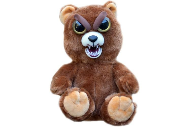 William Mark Feisty Pets Sir Growls-A-Lot- Adorable Plush Stuffed Bear that Turns Feisty with a Squeeze, 22cm L