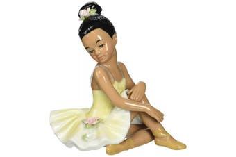 Cosmos 10123 Fine Porcelain African American Ballerina In Yellow Dress Figurine,