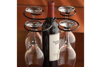Wine Bottle Glasses Holder 4 Stemmed Glass Caddy Hostess Carrying Tray By Suprem