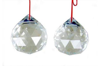 Amlong Crystal 50mm Clear Suncatcher Crystal Ball Prisms Feng Shui X 2pcs With