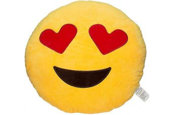 (Heart Eye) - Evz 32cm Emoji Smiley Emoticon Yellow Round Cushion Pillow Stuffed Plush Soft