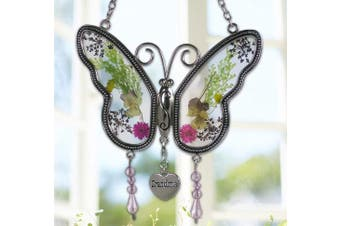 Grandma Butterfly Suncatcher With Pressed Flower Wings Embedded In Glass With