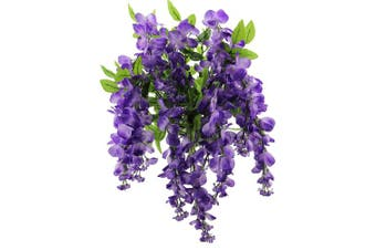 Artificial Wisteria Long Hanging Bush Flowers - 15 Stems For Home, Wedding, And