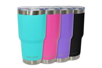(890ml, Aqua Blue) - CHILLOUT LIFE 890ml Stainless Steel Tumbler with Lid & Gift Box - Double Wall Vacuum Insulated Large Travel Coffee Mug with Splash Proof Lid for Hot & Cold Drinks - Teal Tumbler