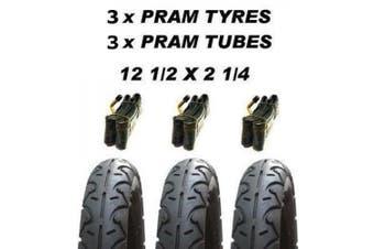 "3 X Pram Tyres & 3 X Tubes 12 1/2 X 5.7cm""mountain Buggy Terrain Osann Beebop"