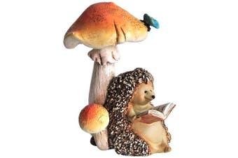 Top Collection Miniature Fairy Garden and Terrarium Hedgehog Reading Book Under Mushroom Statue