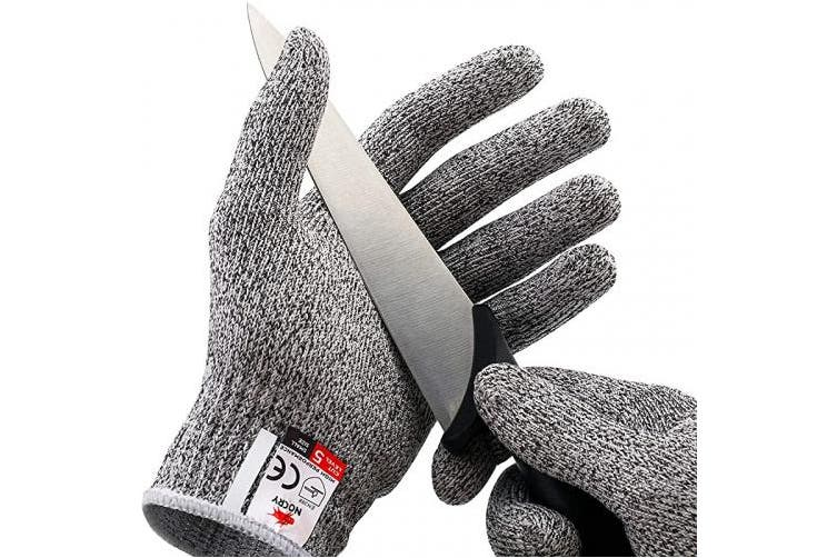 (Large) - NoCry Cut Resistant Gloves - Ambidextrous, Food Grade, High Performance Level 5 Protection. Size Large, Complimentary Ebook Included