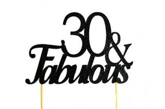 All About Details Black 30- & -fabulous Cake Topper, New,  .