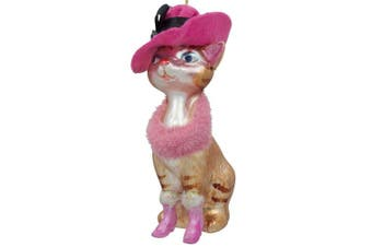 13cm Lady Cat With Pink Hat Glass Christmas Ornament