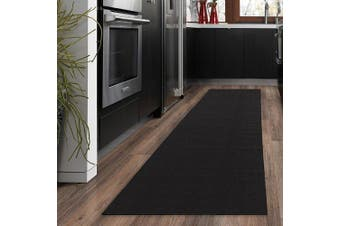 (50cm  x 150cm , Black) - Ottomanson Ottohome Collection Carpet Aisle Solid Hallway Kitchen Runner Rug with (Non-Slip) Rubber Backing, 50cm x 150cm , Black