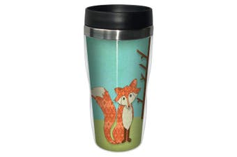 Tree-free Greetings 78135 Paul Brent Whimsical Fox Sip 'n Go Stainless Lined Tra