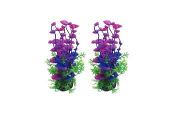 (20cm  Purple, 2pcs) - CNZ Aquarium Decor Fish Tank Decoration Ornament Artificial Plastic Plant Green