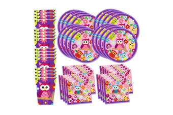 Patchwork Owl Birthday Party Supplies Set Plates Napkins Cups Tableware Kit For