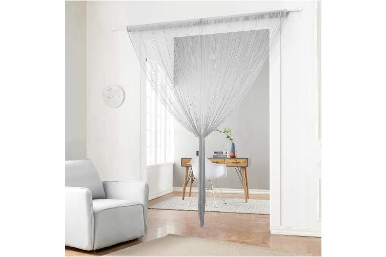 """(90x200cm(35x79""""), Grey) - Taiyuhomes Beaded String Curtains Handmade Crystal Beads Door Curtain Multi-Function Room Divider Fly Insects Screen for Doors Doorways Window (90x200cm) Grey"""