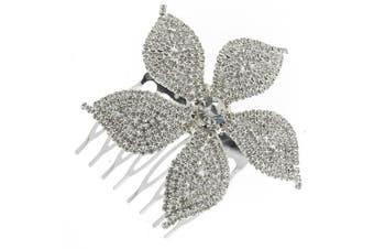 Vintage Cinquefoil Flower Clear Rhinestone Bridal Hair Comb Clip