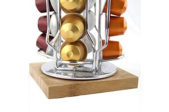 (Silver) - Meelio Metal Rotative Nespresso Coffee Pod Holder for 40 Nespresso Pods, Carousel Stand Storage Organiser (coffee pod not included)