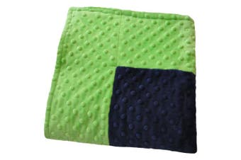 (80cm  x 90cm , Navy Blue/Lime Green) - Cosy Wozy Signature Minky Baby Blanket, Navy Blue/Lime Green, 80cm x 90cm