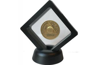 Black Diamond Square Medallion Challenge Coin Chip Display Stand Holder Magic Suspension Box