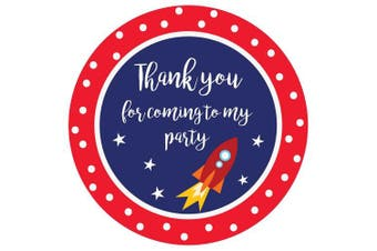 (Red – Rocket, 50) - Party Stickers for Sweet Bags – Cone Bags – Party Bags – Many Designs to Choose - 40mm