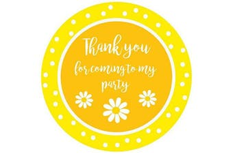 (Yellow – Daisy, 50) - Party Stickers for Sweet Bags – Cone Bags – Party Bags – Many Designs to Choose - 40mm