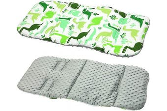 (DINO / grey fleece) - Reversible Cotton & Minky Pram Insert, Liner Covers 5pt Universal (Dino/Grey Fleece)