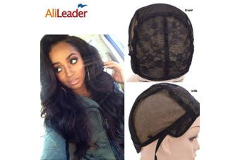(Extra Large) - Black Double Lace Wig Caps For Making Wigs Hair Net with Adjustable Straps Swiss Lace from AliLeader (Extra Large)