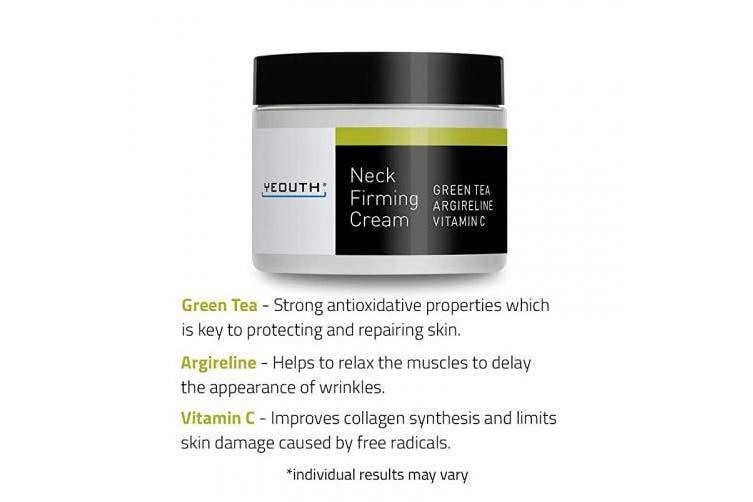 (60ml) - YEOUTH Neck Cream for Firming, Anti Ageing Wrinkle Cream Moisturiser, Skin Tightening, Helps Double Chin, Turkey Neck Tightener, Repair Crepe Skin with Green Tea, Argireline, Vitamin C - 60ml (60ml)