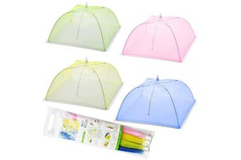 (4 Colors) - Mesh Screen Food Cover Tents - Set of 4 Umbrella Screens to Keep Bugs And Flies Away From Food at Picnics, BBQ & More - 4 Colours (Pink, Green, Blue, Yellow)