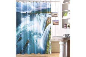 (150cm  W x 180cm  L, Pattern 12) - ChezMax 3D Waterfall Landscape Bathroom Decor Polyester Fabric Shower Curtain with 12 Hooks 150cm W x 180cm L