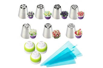 (13pcs) - LUCKSTAR Russian Piping Tips 13pcs - Icing Piping Nozzles DIY Baking Tools For Cake Decoration - 7 Large Size Stainless Steel Russian Tips+3pcs Tri-colour Couplers+3 Size Reusable Silicone Pastry Bags