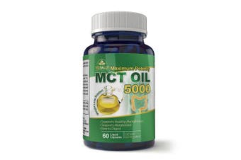 Maximum Potency 100% Pure MCT Oil Capsules - 5000 mg - Cold Pressed, Paleo, Non-GMO - 60 Softgels - Supports Natural Sustained Energy, Mental Focus, & Weight Loss Management